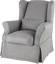 Funda de sillón de lino gris