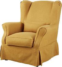 Funda de sillón de lino ocre