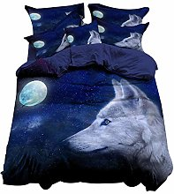 Funda nórdica 3D Animal Lobo Patrón Poliéster