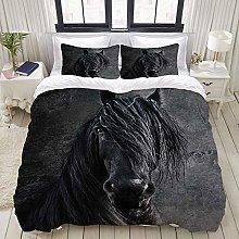 Funda nórdica, animal caballo frisón yegua negra