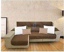 Funda protectora sofá chaise longue marrón y