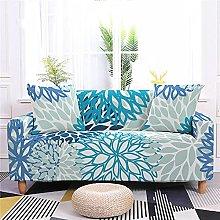 Funda Sofa 4 Plazas Chaise Longue Flor Verde Azul
