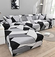 Funda Sofa 4 Plazas Chaise Longue Negro Blanco