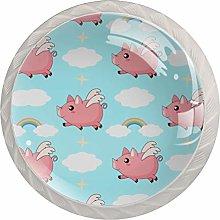 Funny Pig Flying Swing Rainbow Pattern - Pomo