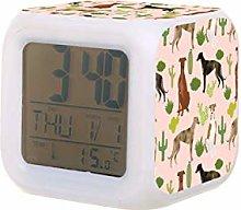galgos y cactus perro para coser rosa LED reloj