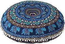 GANESHAM Cojín de mandala redondo con diseño de