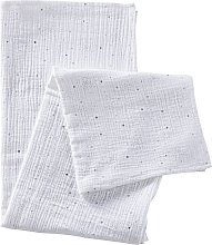 Gasa para bebé de algodón blanco con motivos