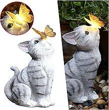 Gato con Solar Mariposas Estatua Al Aire