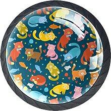 Gatos multicolor sin costuras, 4 piezas de botones