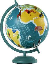 Globo terráqueo con mapamundi de animales de