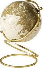 Globo terráqueo con mapamundi de metal dorado