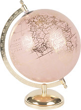 Globo terráqueo mapamundi rosa y dorado
