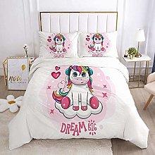 Goplnma - Ropa de cama de unicornio rosa, juego de