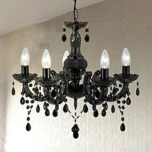 Graciosa lámpara de araña Marie Therese negra
