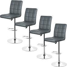 Gray-Set de 4 Taburete de bar, silla de bar,