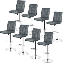 Gray-Set de 8 Taburete de bar, silla de bar,