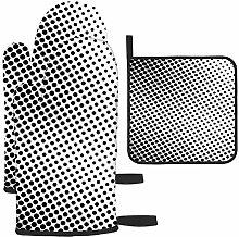 Guantes de barbacoa de color blanco y negro