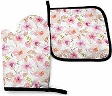 Guantes de horno y ollas florales de color rosa y