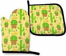 Guantes de horno y porta ollas de cactus amarillo,