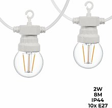 Guirnalda LED cable blanco 10 bombillas LED