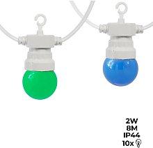Guirnalda LED Multicolor cable blanco 10 bombillas