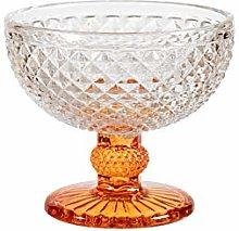 H&H - Set de 6 copas de cristal, base naranja, 11