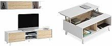 Habitdesign Mueble de salón TV, Roble, 180 cm x