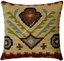 Handicraft Bazarr Funda de cojín de lana y yute