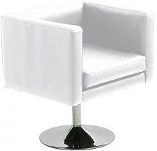 Hd Deco - Sillón TAYLOR, cromado, tapizado blanco