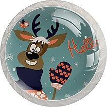 Hello Christmas Raindeer - Tiradores de 4 piezas