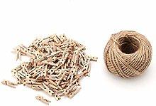 HERCHR 250 Piezas de Pinzas de Madera con Hilo de