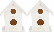 HERCHR Casa de pájaros de Madera Blanca de 2