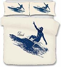 HNHDDZ Juego de Cama Mar Playa Tabla de Surf Azul