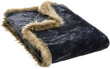 Hogar y más - Manta gris para el sofá. Poliéster