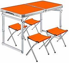 Homeatk Mesa de Camping portátil con 4 taburetes,