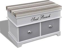 Hommoo - Banco baúl de madera y cojin gris, con