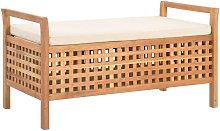 Hommoo Banco de almacenamiento de madera maciza de