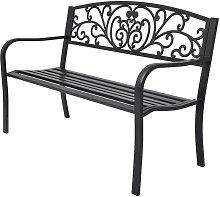 Hommoo Banco de jardín de hierro fundido negro