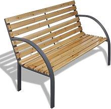 Hommoo Banco de jardín de madera y hierro 112 cm