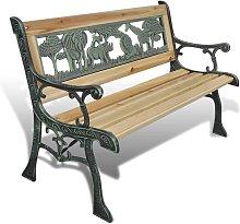 Hommoo Banco de jardín para niños de madera 80 cm