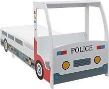 Hommoo Cama infantil coche de policía colchón
