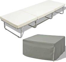 Hommoo Cama/taburete plegable con colchón acero
