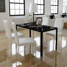 Hommoo Conjunto de mesa de comedor 5 piezas blanco