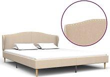 Hommoo Estructura de cama de tela color lino