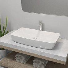 Hommoo Lavabo de baño rectangular con grifo