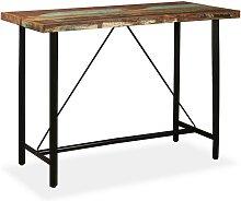 Hommoo Mesa alta de bar de madera maciza reciclada