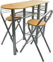 Hommoo Mesa alta de cocina con taburetes madera
