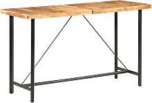 Hommoo Mesa alta de cocina de madera maciza de