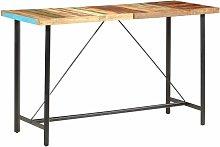 Hommoo Mesa alta de cocina de madera maciza