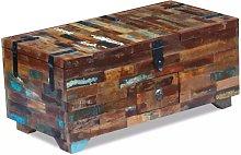 Hommoo Mesa de centro cofre de madera maciza